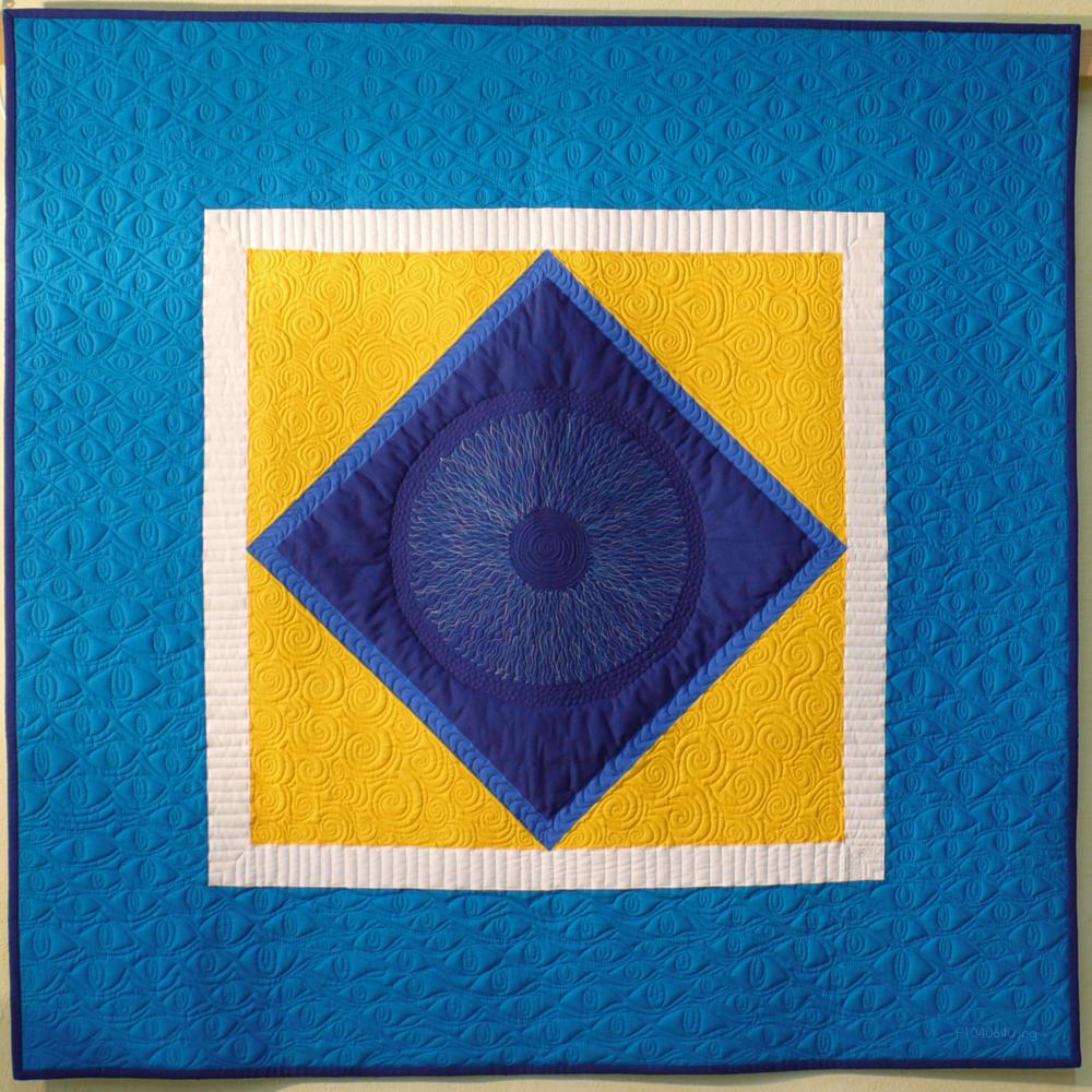 Quilt Quadrat im Quadrat blau und gelb, Quilting Augenmuster